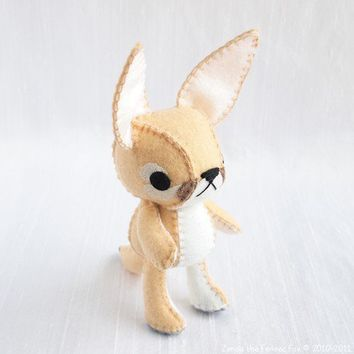 Zerda the Fennec Fox Wool Felt Plush Art Doll by nonesuchgarden