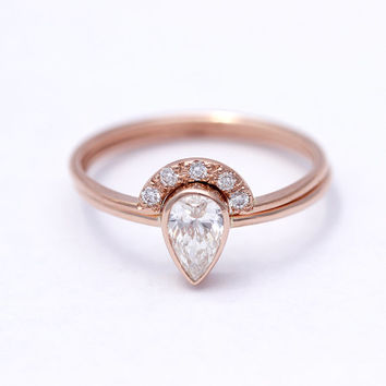 0.5 Carat Pear Diamond Engagement Ring with a Pave Diamonds Crown Ring - Wedding Set - 18k Solid Gold