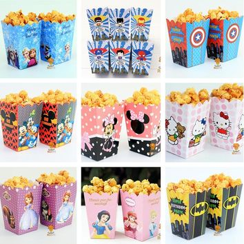 12pcs/lot Mickey Minnie Batman Sofia Avengers pokemon go Popcorn Box case Gift Box Favor Accessory kids Birthday Party Supplies