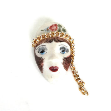 Vintage Flapper Pin Brooch Hand Painted Porcelain Lady Art Deco 1920s