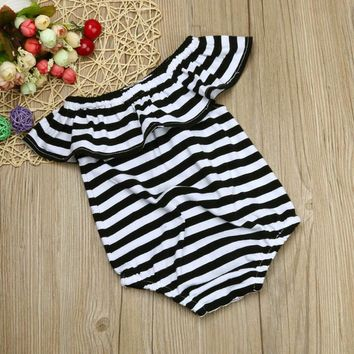 Baby girls romper summer 2017 Toddler Infant Baby Girl Stripe Romper Jumpsuit Outfits Sunsuit Clothes baby rompers Drop ship