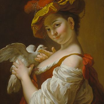 Jean-Baptiste Charpentier, Fine Art, Girl with a Dove at rauantiques.com
