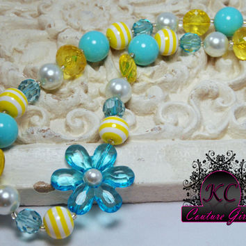Girls Boutique Jewelry Chunky Beaded Necklace Flower Yellow & Turquoise