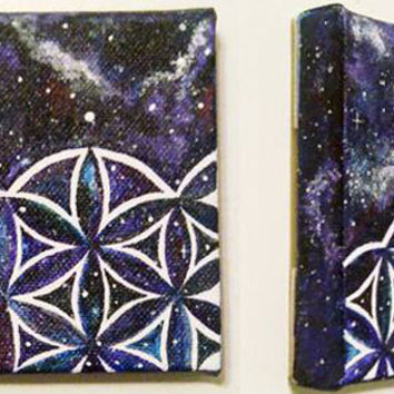 Flower- Seed of Life Galaxy Acrylic Painting || Sacred Geometry