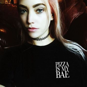 ac NOVQ2A Pizza Is My Bae Shirt in Black