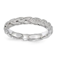Sterling Silver Stackable Expressions Braided Twist Ring