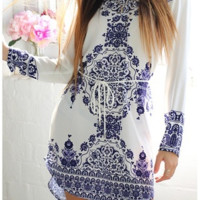 New Women Fashion Long Sleeve Blue and White Vintage Porcelain Flower Blouse Mini Dress [6269620932]