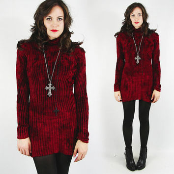 vtg 90s grunge revival goth BURGUNDY red soft fuzzy CHENILLE cowl TURTLENECK sweater jumper mini dress S M L