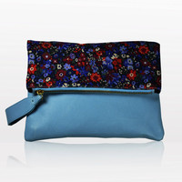 Clutch Cross Body Liberty Fabric Leather Blue Flowers