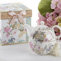 Gift Boxed Porcelain Tea For One - Owls