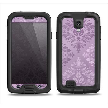 The Light and Dark Purple Floral Delicate Design Samsung Galaxy S4 LifeProof Nuud Case Skin Set