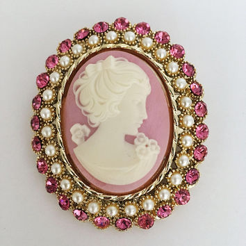 Dodds Signed Cameo Brooch Pendant Pink Rhinestones Simulated Pearls Vintage 1960s 1970s Oval Gold Tone Victorian Revival Pin Mother's Day