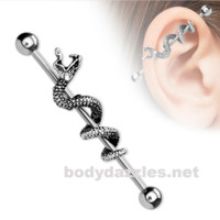 Snake Industrial Barbell 316L Surgical Steel Barbells 14ga