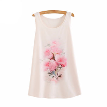 New Arrival 2016 Summer Tanks & Camis Women Casual Female O Neck Tees Pink flowers Print Tank Top Sleeve T-Shirt
