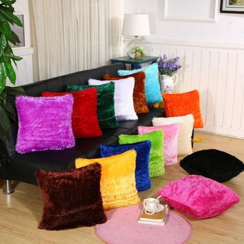 40*40 Fur Fluffy Sofa Pillow Soft Plush Velvet Cushion Cover Throw Pillow Case Cover Nordic Home Decoration Pillow Cover