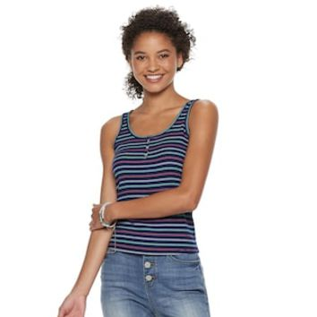 Juniors' SO® Ribbed Henley Tank | null