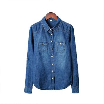 Plus Size vetement New 2016 Women Clothes Blouse Long Sleeves Denim Shirt Nostalgic Vintage Blue Jeans Shirt Camisa Femininas