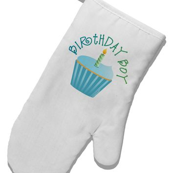 Birthday Boy - Candle Cupcake White Printed Fabric Oven Mitt by TooLoud