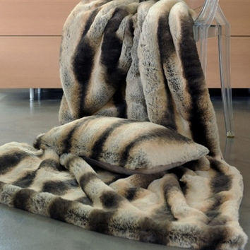 Chinchilla Faux Fur Throw by Evelyne Prelonge
