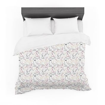 """Stephanie Vaeth """"Year Of The Dog"""" Black White Animals Pattern Illustration Vector Featherweight Duvet Cover"""