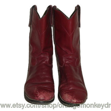 vintage TEXAS ROPER BOOTS red Wine distressed leather roper boots hipster  9 1/2 M Usa made