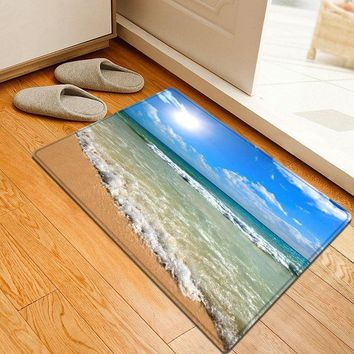 Beach Sea Wave Pattern Water Absorption Area Rug