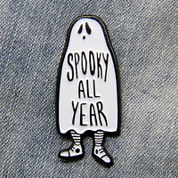 """Spooky All Year Round"" Ghost Lapel Pin"