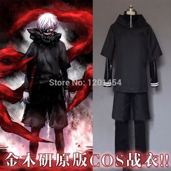 Free shipping Tokyo Ghoul Ken Kaneki zipper hoodie coat+leather pant+shorts+long sleeve T shirt Cosplay Costume