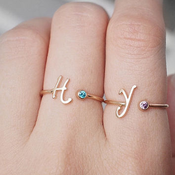 Personalized Initial Birthstone Ring - Thin Gold Initial Ring - Personalized Bridesmaid Jewelry N11