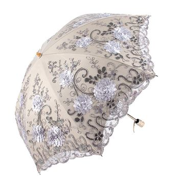 Folding Umbrella Rain Women Elegant Lace Umbrella Windproof Sun Umbrella Sunshade Rain Umbrellas Anti-UV Waterproof Parasol