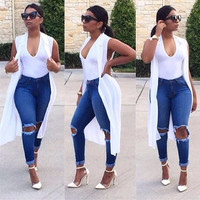 Fashion Pencil Jeans High Waisted Blue Skinny Ripped Jeans Woman