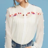 Fourberie Embroidered Silk Blouse