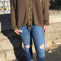 Olive Lace Up Sweater (Back In Stock)