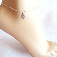Snowflake, Anklet, Dainty, Anklet, Anklet, Jewelry, Minimal, Gift, For, Her, Anklet, Frozen, Anna, And, Elsa, Disney, Let It Go, Jewelry