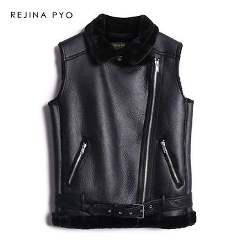 REJINAPYO Women Balck Faux Leather&Fur Patchwork Warm Thick Sleeveless Vest Coat Winter Moto&Biker Style Chic Vest Outerwear