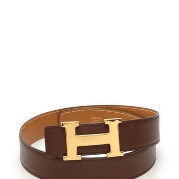 Hermes Constance H Belt Togo Box Calfskin Brown Reversible A Engraved Gold Hard