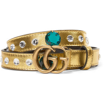 Gucci - Crystal-embellished metallic leather belt