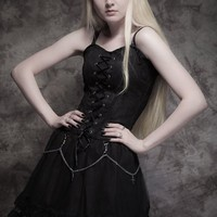Lace-Up Black Gothic Dress with Chains & Crosses | Ladies