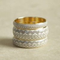 geometric etchings bangle set at ShopRuche.com