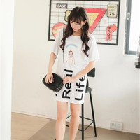 Kim lot summer new female small fresh sweet paste cloth printing letters loose, casual long T-shirt dress