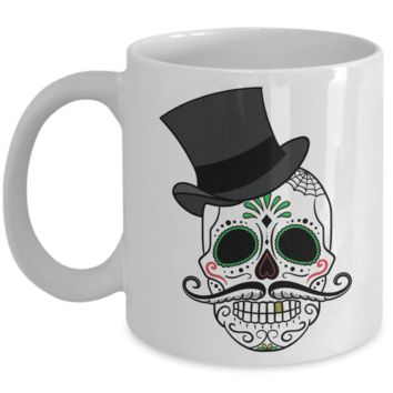 Sugar Skull with Hat Mug - Coffee / Hot Chocolate / Tea Mug - 11 oz Ceramic Cup