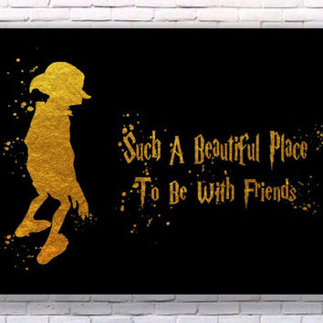 Dobby Harry Potter Quote Gold Art Print Instant Download Printable Black Edition