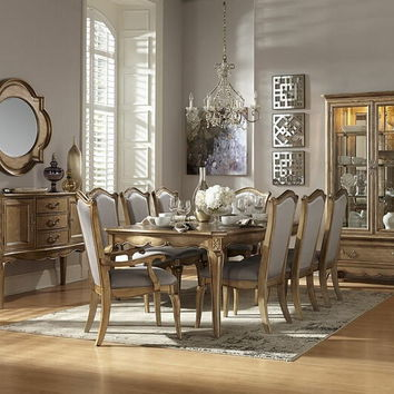 Home Elegance 1828-92 7 pc chambord collection champagne gold wood finish formal dining table set