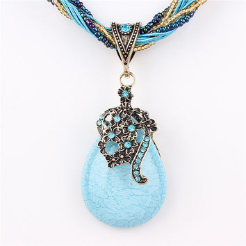 New Statement Choker Vintage Charms Bead Collar Turquoise Pendant Rhinestone Crystal Necklace Women Fine Jewelry Colares 7color