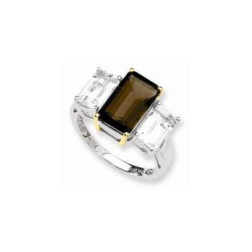 Sterling Silver & 14K Smokey Quartz and White Topaz Ring