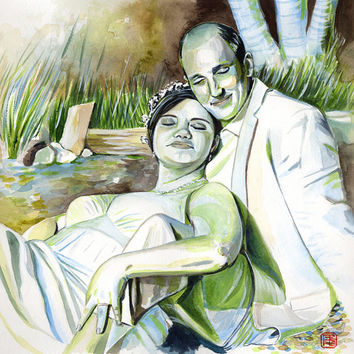 WATERCOLOR COUPLE PORTRAIT 10th wedding anniversary original gift