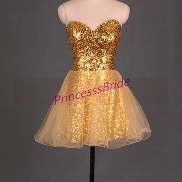 2014 short gold sequins and tulle homecoming gowns,unique chic prom dresses under 100,best sweetheart dress for party hot.