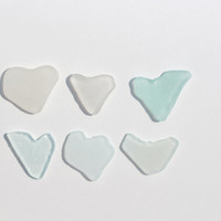 Cute Sea Glass Hearts Beach Glass Hearts 6 pcs
