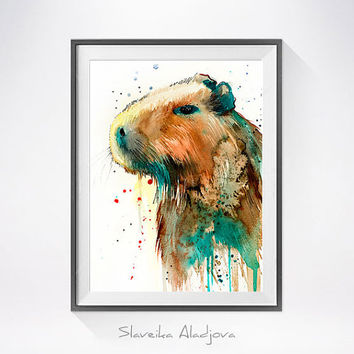 Capybara watercolor painting print, Capybara art, animal art, illustration, animal watercolor, animal poster, Capybara illustration