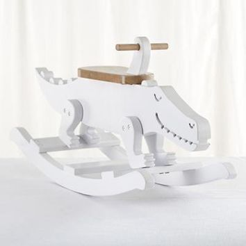 The Land of Nod: Kids Ride-On: Wooden Crocodile Rocker in All Toys